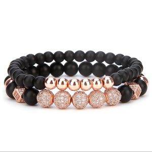 Jewelry - BLACK MATTE ONYX ROSE GOLD 8mm BEAD BRACELETS